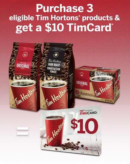 店内购买3款 Tim Hortons 咖啡产品,厂家送10元礼品卡!