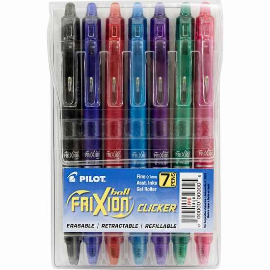 金盒头条:历史新低! Pilot FriXion Clicker 可擦彩色凝胶墨水笔/中性笔(7支)5.6折 12.79加元!