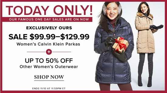 今日闪购:精选大量 French Connection、Guess 等品牌女士羽绒服、防寒服、大衣等3.3折起!多款Calvin Klein羽绒服全部仅售99.99-129.99加元包邮!