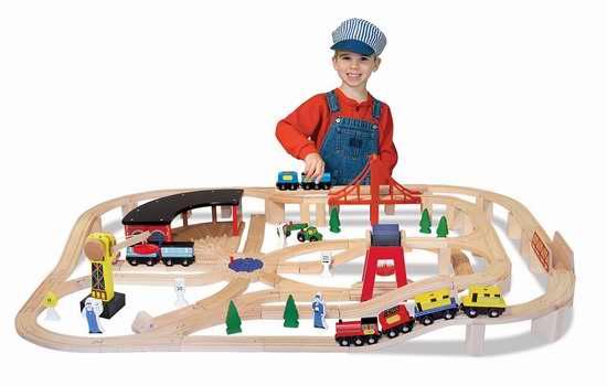 历史新低!Melissa & Doug 豪华木制小火车玩具套装(130 pcs)5.7折  94.93加元包邮!