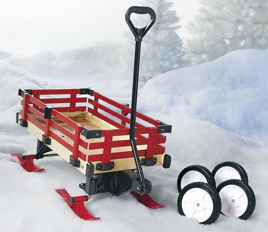 销量冠军!Millside Industries 二合一 实木儿童雪橇车/拖车 104.99加元包邮!