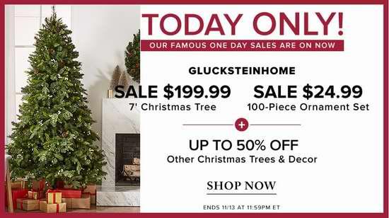今日闪购:精选大量圣诞树及圣诞挂饰5折起!7英尺圣诞树仅售199.99加元包邮!