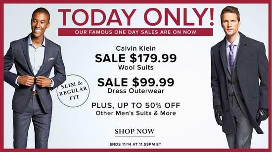 今日闪购:精选多款 Calvin Klein 男士精品纯羊毛西服套装全部3.4折 179.99加元包邮!