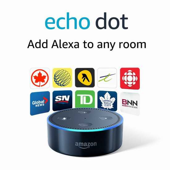 白菜价!历史新低!Echo Dot 亚马逊第二代智能家居语音机器人 34.99加元包邮!购两台降为 27.49加元!两色可选!