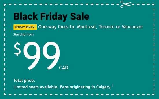 WestJet 西捷航空 黑五特卖!加拿大境内及飞往美国、欧洲航线机票享受特价优惠!国内票低至99加元!飞伦敦低至199加元!部分特惠价仅限今日!