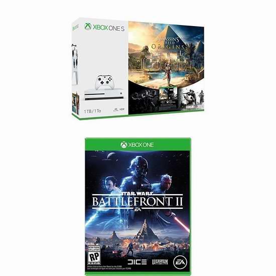 历史新低!Xbox One S 500GB/1TB 家庭娱乐游戏机+《刺客信条:起源》/《中土世界:战争之影》套装 319.99-379.99加元包邮!