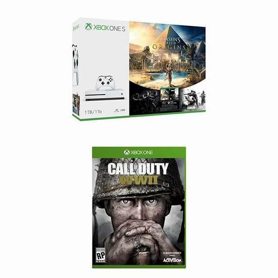 历史新低!Xbox One S 1TB 家庭娱乐游戏机+《刺客信条:起源》+《使命召唤:二战》套装 379.99加元包邮!