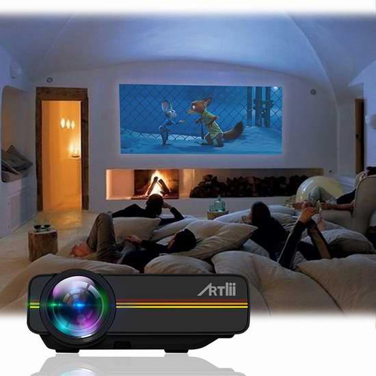 Artlii 1200流明 家庭影院投影仪 77.75加元限量特卖并包邮!两色可选!