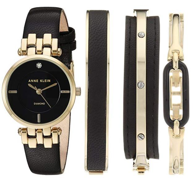 白菜速抢!Anne Klein AK/2684BKST 女士镶钻腕表+手镯套装3.3折 66.96加元清仓并包邮!