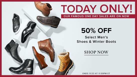 今日闪购:精选大量 Calvin Klein、Timberland、Clarks 等品牌男士鞋靴全部5折!