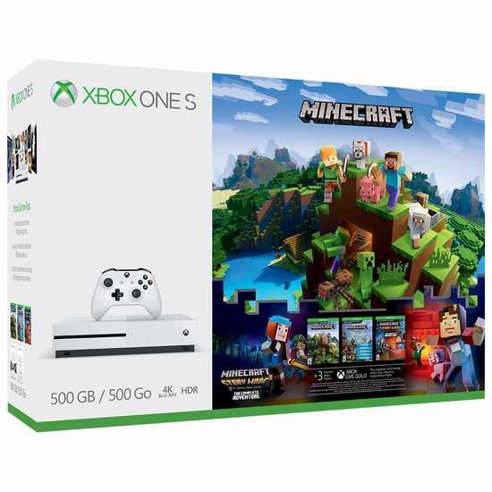 黑五专享!历史新低!Xbox One S 500GB 家庭娱乐游戏机+《Minecraft 我的世界》套装 299.99加元包邮!