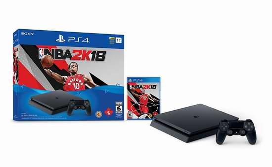 黑五专享!历史新低!Playstation 4 1TB Slim游戏机 + 《NBA 2K18》套装 279.94加元!