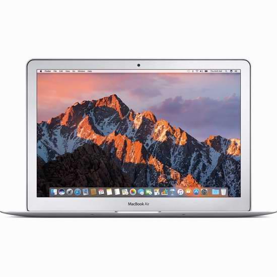 2017版 Apple 苹果 MacBook Air 13.3寸笔记本电脑(8GB/128GB)7.2折 999.99加元包邮!