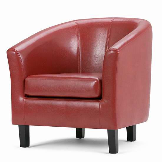 Simpli Home AXCTUB-003 Austin 时尚红色人造革 单人沙发 184.99加元包邮!