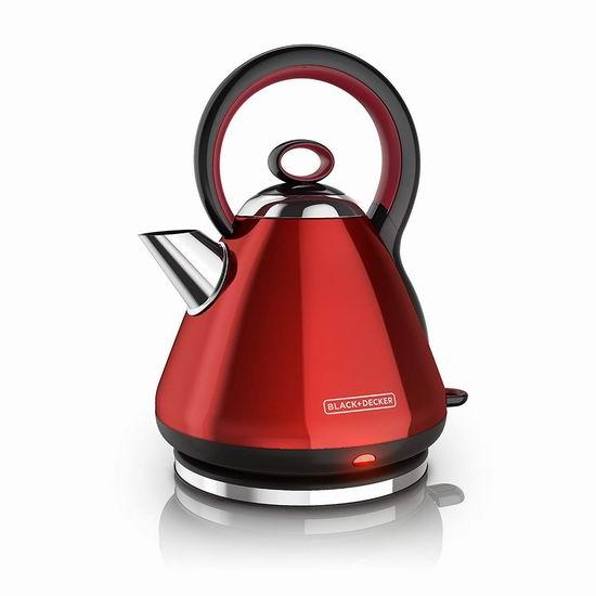 历史新低!Black & Decker KE2900CRC 高颜值 不锈钢复古电热水壶 34.99加元!2色可选!