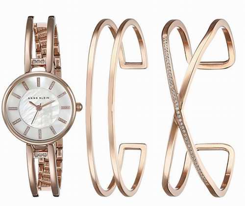 Anne Klein AK/2236RGST施华洛世奇水晶腕表套装 112.92加元,原价 250加元,包邮