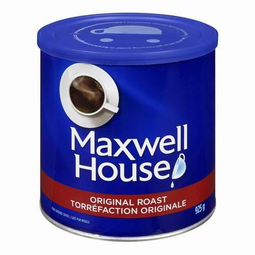 Maxwell House 麦斯威尔 原味烘焙烤咖啡 4.64加元(925G ),原价 8.99加元