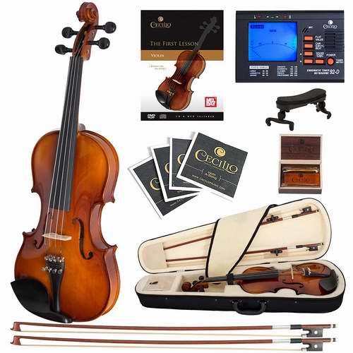 历史最低价!Cecilio CVN-300黑檀木实木小提琴套装 164.04加元,原价 244加元,包邮