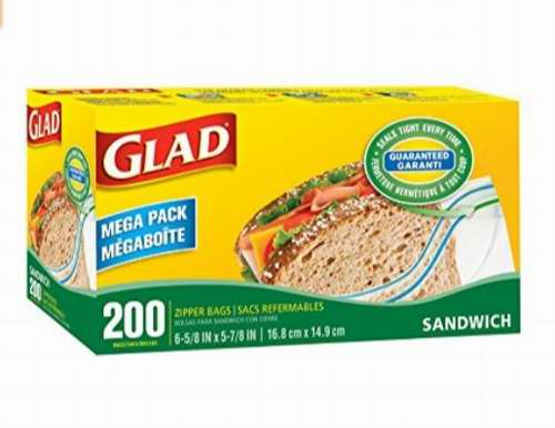 历史新低!Glad Food 拉链式食物存储袋(200个) 3.33加元!
