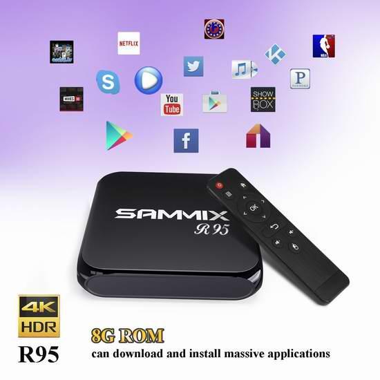 历史新低!Sammix R95 四核无线流媒体播放器/网络电视机顶盒(2G/8G) 39.99加元限量特卖并包邮!