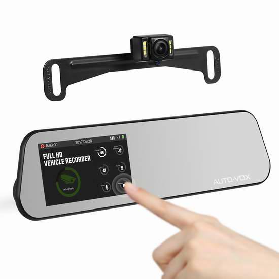 AUTO-VOX M6 1080P 全高清广角4.5英寸触控后视镜行车记录仪+倒车后视摄像头 119.84加元限量特卖并包邮!