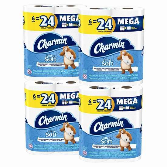 历史新低!Charmin Ultra 超软 双层Mega卫生纸6卷4件套 17.04-17.94加元!
