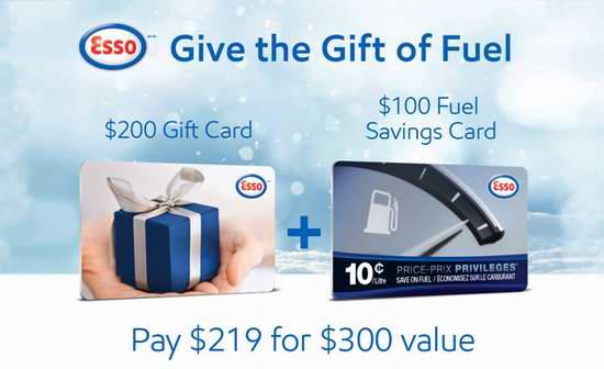 Esso 200加元加油卡+100加元省油卡,仅售219加元!