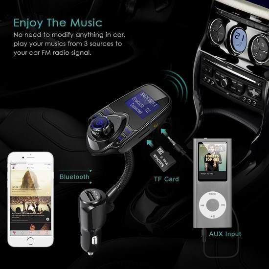 历史新低!Cloele 无线蓝牙车载FM调频转换器+免提电话+USB充电3.4折 16.99加元清仓!