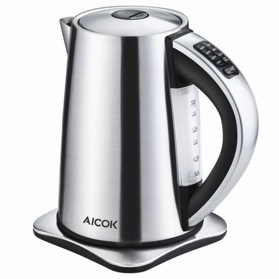 白菜价!历史新低!Aicok 1.7升 6档精准温控 不锈钢保温电热水壶3.9折 39.49加元包邮!