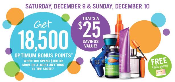 Shoppers Drug Mart 本周六到周日(12月9日-10日)持积分卡购物满100元送价值25元积分!
