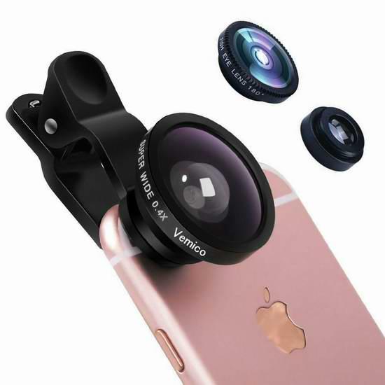 白菜价!历史新低!Vemico 广角、鱼眼、微距三合一通用手机镜头 2.99加元清仓!