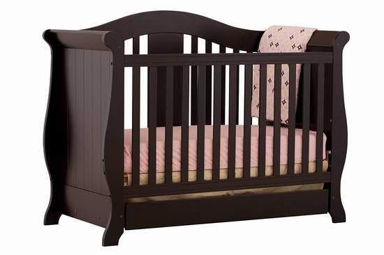 历史新低!Stork Craft Vittoria 黑色三合一 成长型婴儿床3.9折 130.71加元包邮!