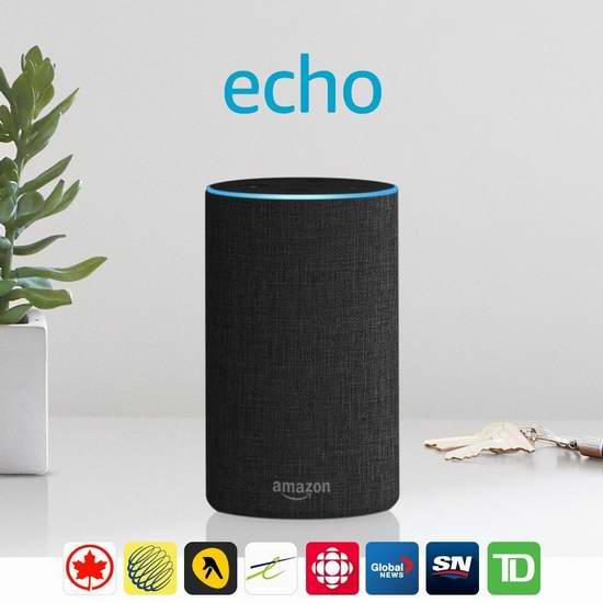 Echo 亚马逊第二代智能家居语音机器人 99.99加元包邮!购两台,单价降为5折 65.74加元!3色可选!