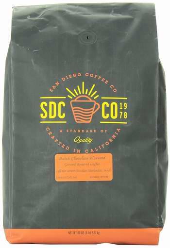 白菜价!历史新低!San Diego Coffee 荷兰巧克力味 烤咖啡豆5磅2.6折 14.5加元全场!