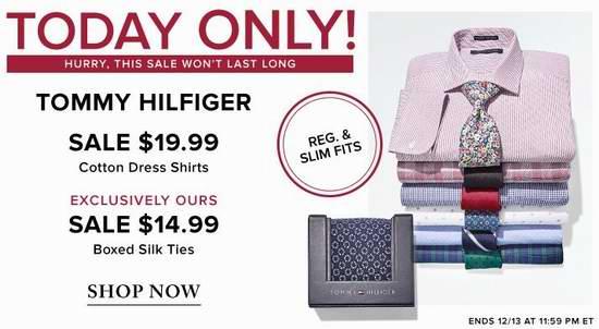 手慢无!精选大量 Tommy Hilfiger 男士精品纯棉衬衣、盒装领带2.3折起+额外8.5折!全部仅售12.74-16.99加元!