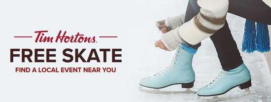 Tim Horton's 赞助 冬季免费滑冰活动又来了!