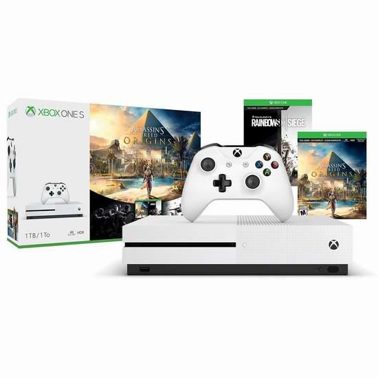 历史新低!Xbox One S 1TB 家庭娱乐游戏机+《刺客信条:起源》+《彩虹六号:围攻》 349.99加元包邮!