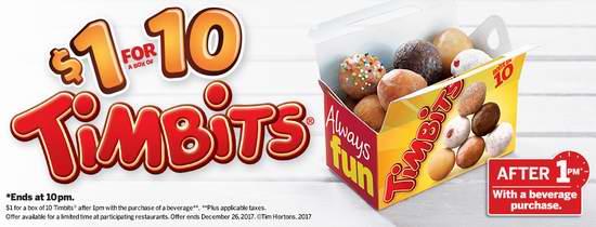 Tim Hortons 圣诞促销!每天下午1点后,招牌甜点Timbit一盒仅需1元!