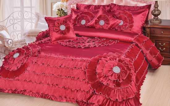 白菜价!DaDa Bedding Quinceanera 豪华樱花红色花朵Queen被子5件套2.1折 42.01加元包邮!