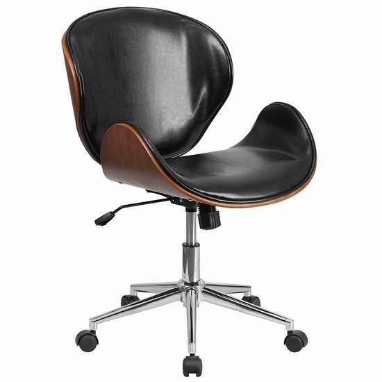 历史新低!Flash Furniture 天然曲木皮革旋转办公椅3.4折 147.56加元包邮!