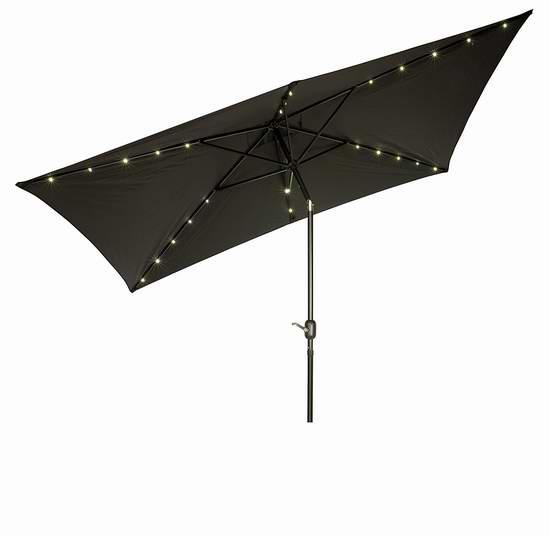 历史新低!Trademark Innovations 10x6.5英尺 黑色矩形太阳能照明庭院遮阳伞4.9折 69.06加元包邮!
