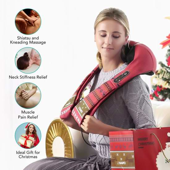 历史新低!Naipo 2018新年限量版 红外加热 3D揉捏可调强度 肩颈按摩披肩5.3折 78.99加元包邮!
