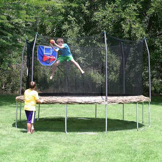 节礼周专享!Skywalker Trampolines Jump N' Dunk 12英尺带保护罩+篮球框 封闭蹦床6折 259.99加元包邮!