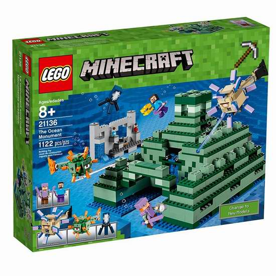 历史新低!Lego 乐高 21136 我的世界 海洋纪念碑(1122pcs)5.7折 80加元包邮!