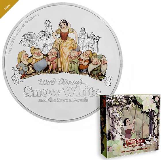 新品发售!Disney 迪士尼 白雪公主和7个小矮人 80周年纯银纪念币(1盎司) 119.95加元包邮!