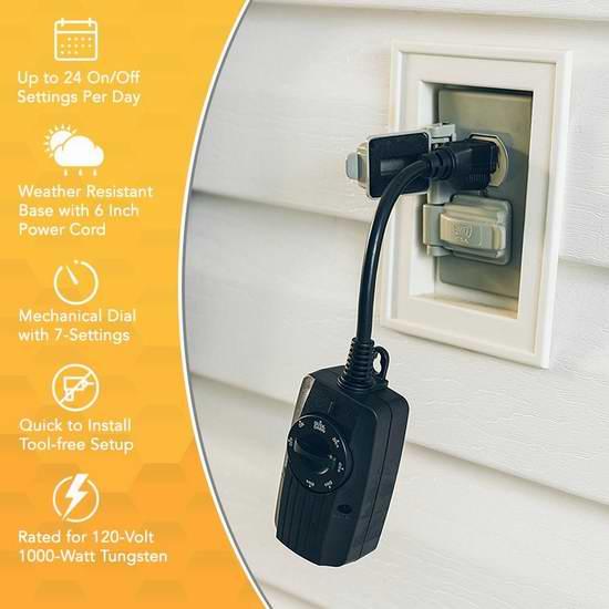 历史新低!Woods 2001 室外光感应 机械式 定时插座3.2折 7.7加元!控制室外装饰灯必备!