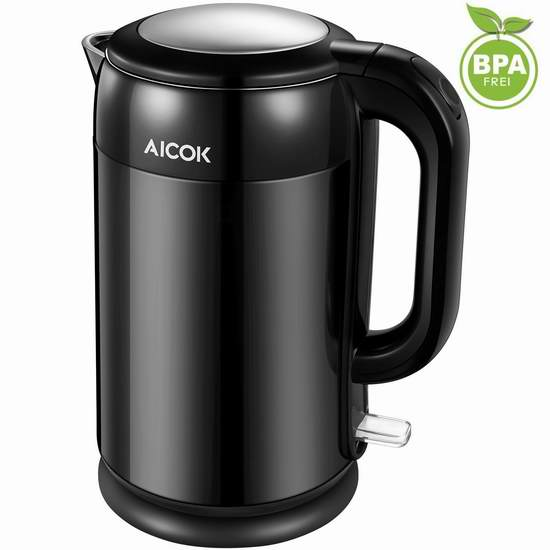 Aicok 1.7升不锈钢双壁保温电热水壶 22.99加元限量特卖并包邮!