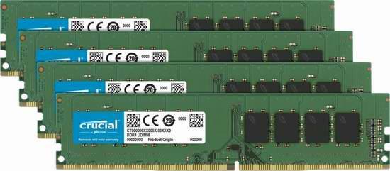 历史新低!Crucial 英睿达 32GB (8GBx4) DDR4 2133 MT/s 288-Pin 台式机内存条套装 258加元包邮!会员专享!