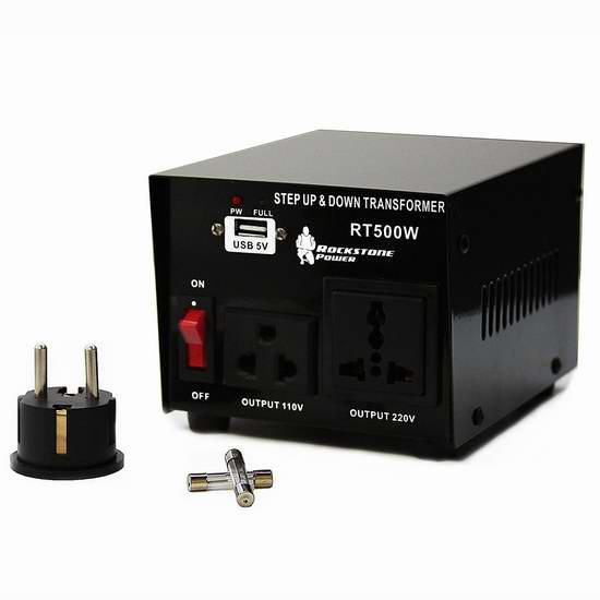 历史新低!Rockstone Power 500瓦(110-220v)双向变压器 35.99加元包邮!