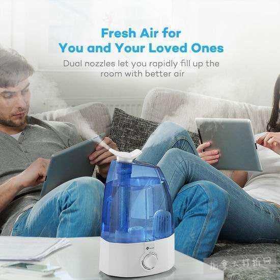 TaoTronics TT-AH002 3.5升超大容量超声波雾化加湿器2.9折 51.99加元特卖并包邮!